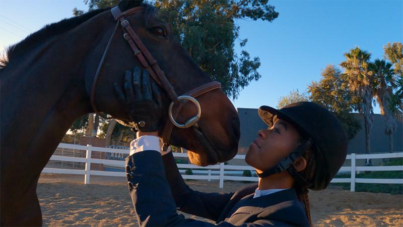 Equestrian athlete Zoie Brogdon and her horse, Ninja.