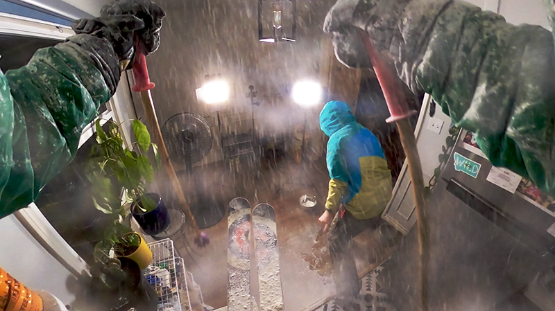 Wade Holland recreating backcountry skiing for The Great Indoors.