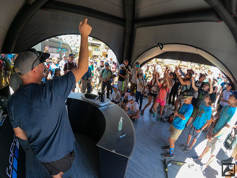 Giveaway in the GoPro tent at GoPro Mountain Games in Vail, Colo.