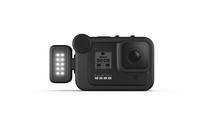 GoPro HERO08 action camera with modular light and media mod accessories