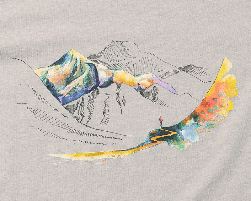 Detailed image of the Elevation Tee mountainscape design