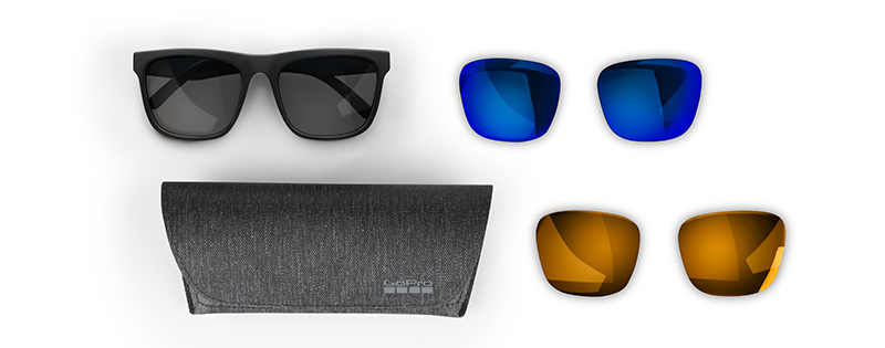 The new Mezcal sunglasses by GoPro with interchangeable polarized lenses and protective case.