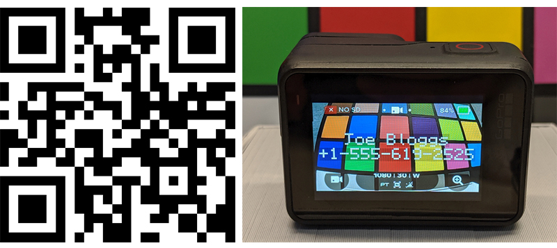 GoPro QR codes to control camera.