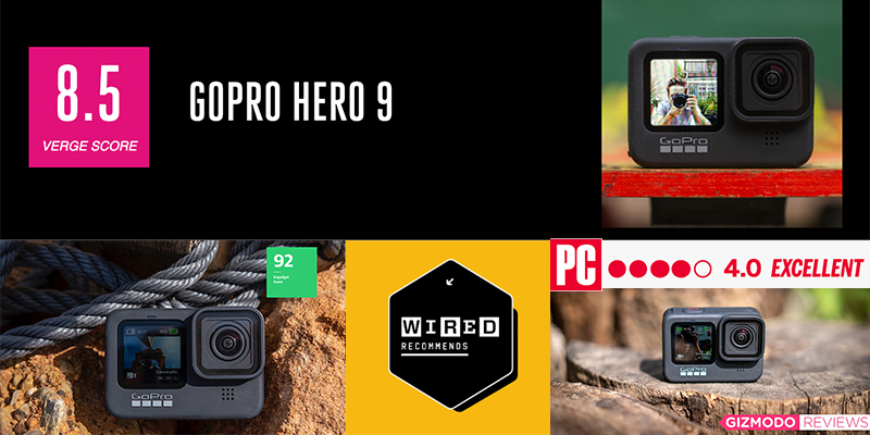 HERO9 Black front and rear view images.