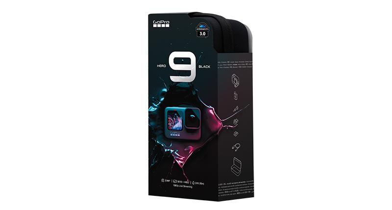 Nova embalagem da HERO9 Black - estojo para viagem sem plástico na composição.