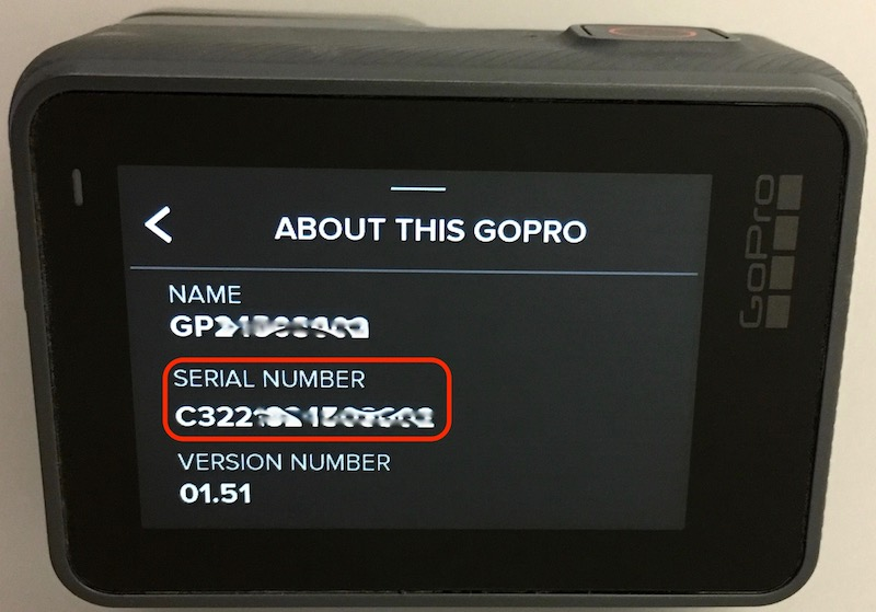 gopro serial number hero 3+