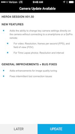 Aggiornamento GoPro App OTA
