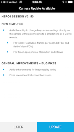 GoPro App OTA Update