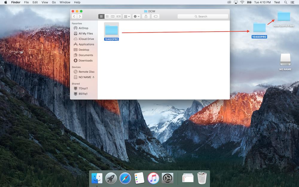 Drag and drop GoPro folder to your Desktop or new folder.