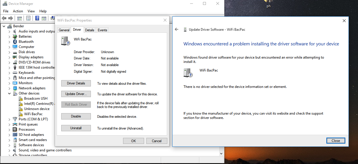 Windows 10 Wi-Fi BacPac Driver Installation Issues